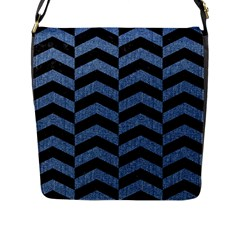 Chevron2 Black Marble & Blue Denim Flap Closure Messenger Bag (l) by trendistuff