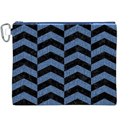 Chevron2 Black Marble & Blue Denim Canvas Cosmetic Bag (xxxl) by trendistuff