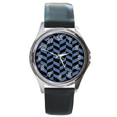 Chevron1 Black Marble & Blue Denim Round Metal Watch by trendistuff