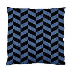 Chevron1 Black Marble & Blue Denim Standard Cushion Case (one Side) by trendistuff
