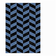 Chevron1 Black Marble & Blue Denim Small Garden Flag (two Sides)