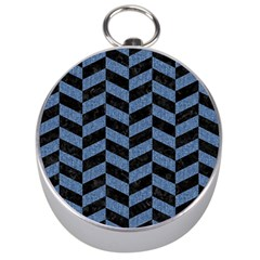 Chevron1 Black Marble & Blue Denim Silver Compass by trendistuff