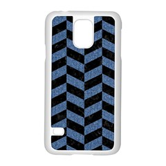 Chevron1 Black Marble & Blue Denim Samsung Galaxy S5 Case (white) by trendistuff