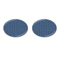 Brick2 Black Marble & Blue Denim (r) Cufflinks (oval) by trendistuff