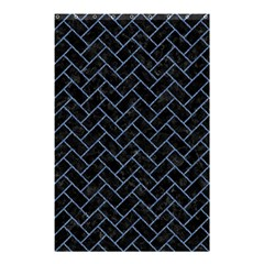 Brick2 Black Marble & Blue Denim Shower Curtain 48  X 72  (small) by trendistuff
