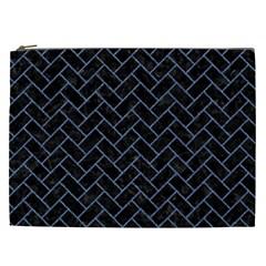 Brick2 Black Marble & Blue Denim Cosmetic Bag (xxl) by trendistuff