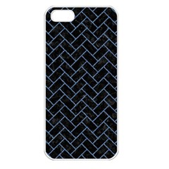 Brick2 Black Marble & Blue Denim Apple Iphone 5 Seamless Case (white) by trendistuff