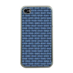 Brick1 Black Marble & Blue Denim (r) Apple Iphone 4 Case (clear) by trendistuff