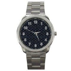 Brick1 Black Marble & Blue Denim Sport Metal Watch by trendistuff
