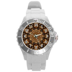 3d Fractal Art Round Plastic Sport Watch (l) by Simbadda