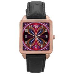 3d Abstract Ring Rose Gold Leather Watch  by Simbadda