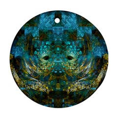 Blue Gold Modern Abstract Geometric Ornament (round)