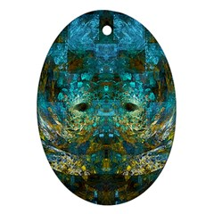 Blue Gold Modern Abstract Geometric Ornament (oval)