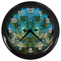 Blue Gold Modern Abstract Geometric Wall Clocks (black)