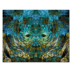 Blue Gold Modern Abstract Geometric Rectangular Jigsaw Puzzl
