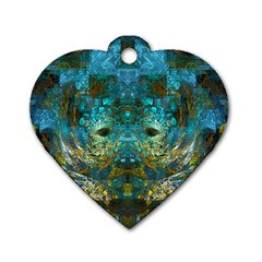 Blue Gold Modern Abstract Geometric Dog Tag Heart (one Side)