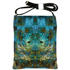 Blue Gold Modern Abstract Geometric Shoulder Sling Bags by CrypticFragmentsColors
