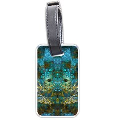 Blue Gold Modern Abstract Geometric Luggage Tags (one Side)