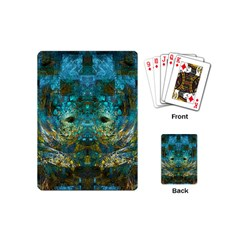 Blue Gold Modern Abstract Geometric Playing Cards (mini)