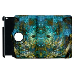 Blue Gold Modern Abstract Geometric Apple Ipad 2 Flip 360 Case by CrypticFragmentsColors
