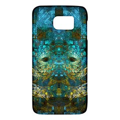 Blue Gold Modern Abstract Geometric Galaxy S6