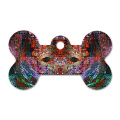 Modern Abstract Geometric Art Rainbow Colors Dog Tag Bone (two Sides) by CrypticFragmentsColors