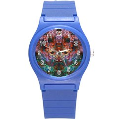 Modern Abstract Geometric Art Rainbow Colors Round Plastic Sport Watch (s) by CrypticFragmentsColors