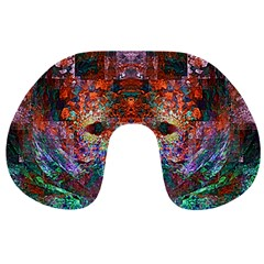 Modern Abstract Geometric Art Rainbow Colors Travel Neck Pillows by CrypticFragmentsColors