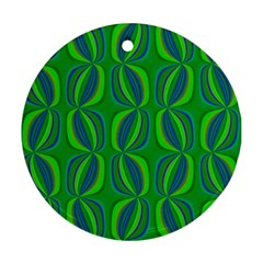 Blue Green Ethnic Print Pattern Ornament (round)
