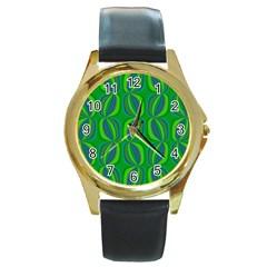 Blue Green Ethnic Print Pattern Round Gold Metal Watch
