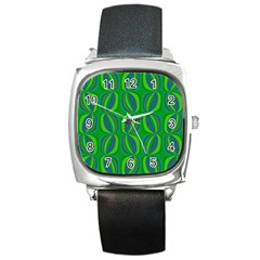 Blue Green Ethnic Print Pattern Square Metal Watch