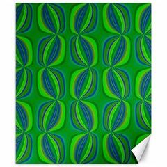 Blue Green Ethnic Print Pattern Canvas 8  X 10  by CrypticFragmentsColors