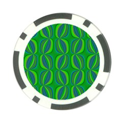 Blue Green Ethnic Print Pattern Poker Chip Card Guard (10 Pack)