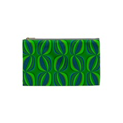 Blue Green Ethnic Print Pattern Cosmetic Bag (small)