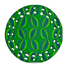 Blue Green Ethnic Print Pattern Round Filigree Ornament (two Sides) by CrypticFragmentsColors