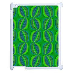 Blue Green Ethnic Print Pattern Apple Ipad 2 Case (white) by CrypticFragmentsColors