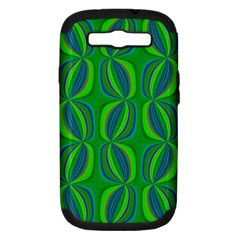 Blue Green Ethnic Print Pattern Samsung Galaxy S Iii Hardshell Case (pc+silicone) by CrypticFragmentsColors