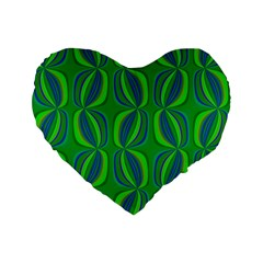 Blue Green Ethnic Print Pattern Standard 16  Premium Flano Heart Shape Cushions by CrypticFragmentsColors