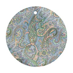 Paisley Boho Hippie Retro Fashion Print Pattern  Ornament (round) by CrypticFragmentsColors