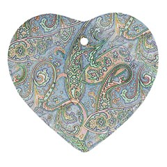 Paisley Boho Hippie Retro Fashion Print Pattern  Ornament (heart) by CrypticFragmentsColors