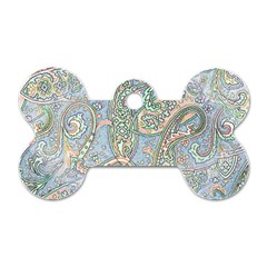 Paisley Boho Hippie Retro Fashion Print Pattern  Dog Tag Bone (one Side) by CrypticFragmentsColors