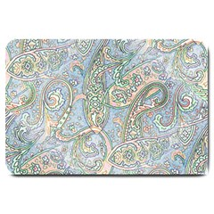 Paisley Boho Hippie Retro Fashion Print Pattern  Large Doormat  by CrypticFragmentsColors