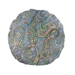 Paisley Boho Hippie Retro Fashion Print Pattern  Standard 15  Premium Round Cushions by CrypticFragmentsColors