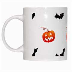 Halloween Seamless Pumpkin Bat Orange Black Sinister White Mugs by Alisyart