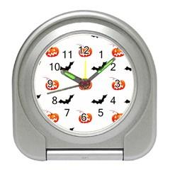 Halloween Seamless Pumpkin Bat Orange Black Sinister Travel Alarm Clocks by Alisyart