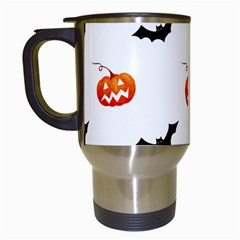 Halloween Seamless Pumpkin Bat Orange Black Sinister Travel Mugs (white) by Alisyart