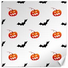 Halloween Seamless Pumpkin Bat Orange Black Sinister Canvas 20  X 20   by Alisyart