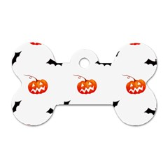 Halloween Seamless Pumpkin Bat Orange Black Sinister Dog Tag Bone (one Side) by Alisyart