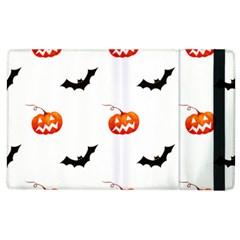 Halloween Seamless Pumpkin Bat Orange Black Sinister Apple Ipad 3/4 Flip Case by Alisyart
