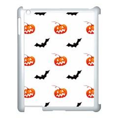 Halloween Seamless Pumpkin Bat Orange Black Sinister Apple Ipad 3/4 Case (white) by Alisyart